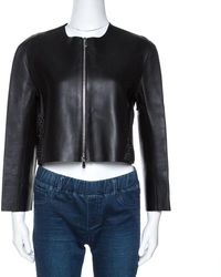 Dior Black Lamb Leather Laser Cut Detail Jacket M