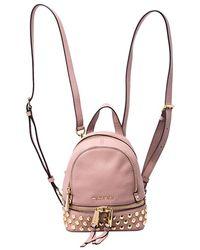 Michael Kors Beige Leather Mini Studded Rhea Backpack - Natural