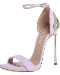 Casadei Lilac Suede Techno Blade Ankle Strap Sandals - Purple