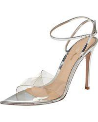 Gianvito Rossi Giavanto Rossi Metallic Silver Leather And Pvc Plexi Stark Sandals