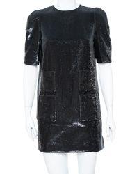 Louis Vuitton Black Sequin Embellished Short Sleeve Shift Dress