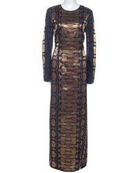 Tory Burch - Navy Blue Silk Blend Jacquard Gown - Lyst