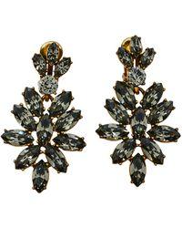 Oscar de la Renta Grey Crystal Navette Clip On Earrings
