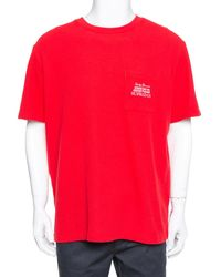 Supreme Red Waffle Cotton Embroidered Logo Detail Crewneck T- Shirt