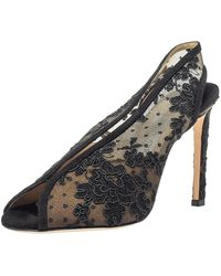 Jimmy Choo Black Lace And Suede Shar Slingback Sandals