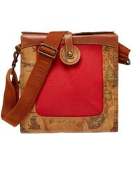 Alviero Martini 1A Classe Geo Print Coated Canvas And Leather Flap Messenger Bag - Brown