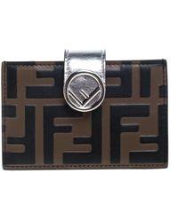 Fendi Tobacco/silver Zucca Leather Maya Card Holder - Brown