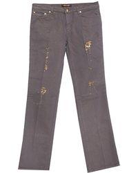 Roberto Cavalli Brown & Gold Denim Distressed Straight Leg Jeans