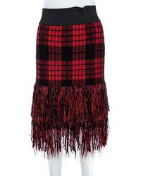 Balmain Red/black Chequered Tweed Fringe Skirt