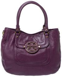 Tory Burch Purple Leather Amanda Hobo