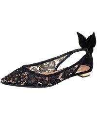 Aquazzura Black Lace Bow Tie Pointed Toe Slingback Flats