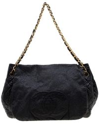 Chanel Black Patent Leather Rock And Chain Accordion Flap Bag
