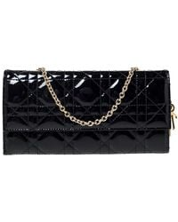 Dior Black Cannage Patent Leather Wallet On Chain