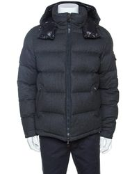 Moncler - Grey Wool Quilted Down Hooded Montgenevre Jacket Xxl - Lyst