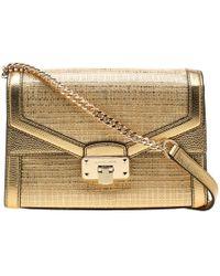 Michael Kors Gold Straw And Leather Medium Kinsley Shoulder Bag - Metallic