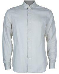 Ferragamo Men's Beige Striped Shirt L - Natural