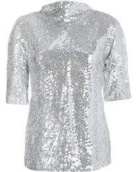 Diane von Furstenberg Silver Sequin Embellished Short Sleeve Mako Top M - Metallic