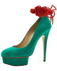 Charlotte Olympia Green Suede Dolly Platform Court Shoes
