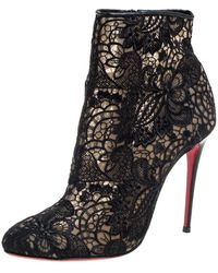 Christian Louboutin Black Lace Miss Tennis Ankle Boots