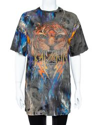Balmain Multicolour Cotton Faded Tiger Print Distressed Oversized T-shirt - Black