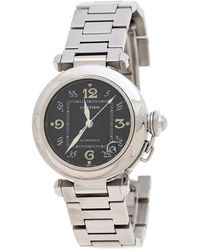 Cartier Black Stainless Steel Pasha De 2324 Women's Wristwatch 35 Mm - Metallic