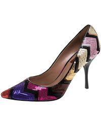 Missoni Multicolor Zigzag Sequins Pointed Toe Pumps - Brown