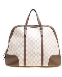 Gucci - Off White/brown GG Supreme Canvas And Leather Large Nice Top Handle Bag - Lyst