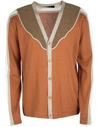 Etro Colorblock Faux Suede Panel Detail Button Front Cardigan 2xl - Multicolor
