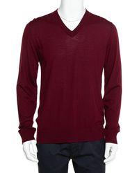 Dolce & Gabbana Burgundy Wool V-neck Long Sleeve Pullover - Red