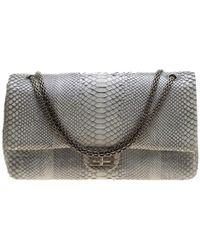 ed6780c530407e Chanel - Grey Python 2.55 Reissue Double Flap Shoulder Bag - Lyst