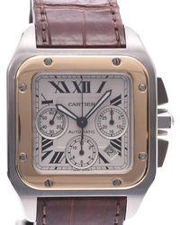 Cartier White 18k Yellow Gold And Stainless Steel Santos 100 Chrono Xl W20091x7 Wristwatch 36 Mm