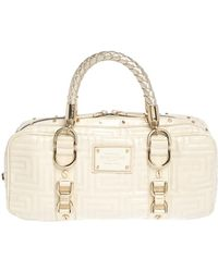Versace Light Cream Quilted Patent Leather Bowler Bag - Natural