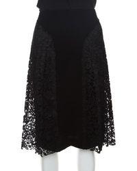 JOSEPH Black Pleated Lace Detail Courtney Skirt