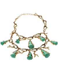 Oscar de la Renta Turquoise Resin Shell & Gold Tone Coral Two-tier Necklace - Metallic