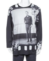 Dolce & Gabbana Black Marlon Brando Printed Cotton Long Sleeve T Shirt