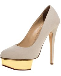 Charlotte Olympia Beige Canvas Dolly Platform Court Shoes - Natural