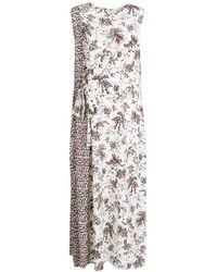 5c27f4400b Tory Burch - Whey Tropicale Printed Silk Sleeveless Midi Dress L - Lyst