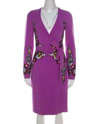 Diane von Furstenberg - Crepe Floral Applique Violette Soft Iris Wrap Dress Xs - Lyst