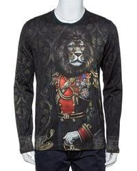 Dolce & Gabbana Black Heraldic Sicilia Printed Cotton Long Sleeve Crewneck T-shirt