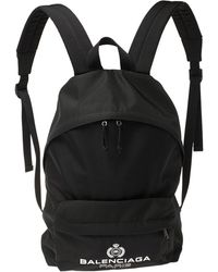 Balenciaga Black Nylon Logo Crest Backpack