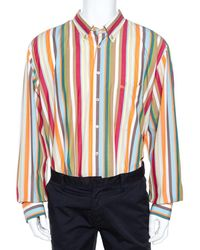 Burberry Multicolour Striped Cotton Button Down Long Sleeve Shirt