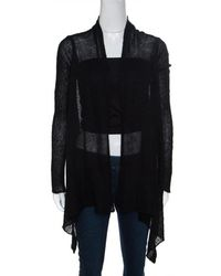 Rick Owens Black Alpaca Wool Open Front Water Fall Cardigan