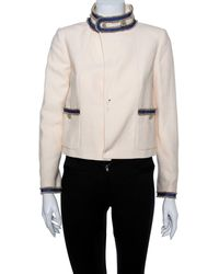 Chanel Cream Boucle Stand Collar Button Detail Jacket - Natural