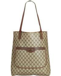 1ac889ca2 Lyst - Gucci Web Animalier Embroidered GG Supreme Tote in Brown