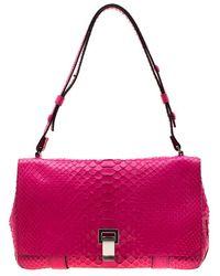 Proenza Schouler Dark Pink Python Courier Shoulder Bag