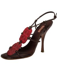 Alaïa Red/brown Croc Leather And Leather Strappy Sandals