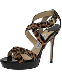 Jimmy Choo Leopard Pony Hair Vamp Platform Sandals - Brown