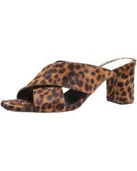 Saint Laurent Brown/black Leopard Print Calfhair Loulou Crisscross Sandals