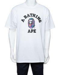 A Bathing Ape A Bathing Ape White City Logo Print Cotton Crew Neck T-shirt