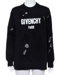 Givenchy Black Cotton Logo Printed Distressed Sweatshirt